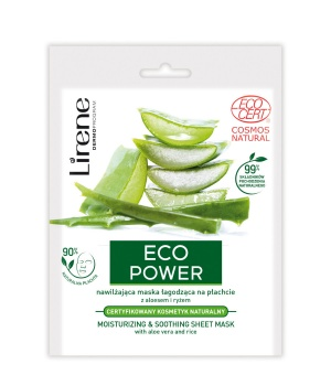 ECO POWER MOISTURIZING & SOOTHING SHEET MASK with aloe vera and rice